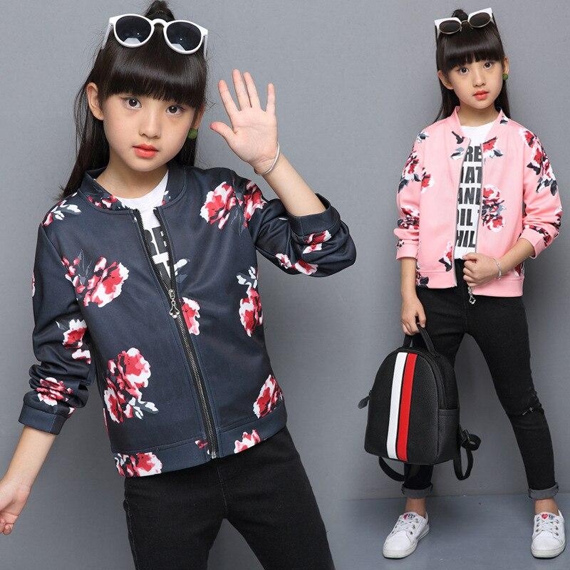 Floar Windbreaker for Girls 2018 Spring Jacket Girls Bomber Jacket Kids Jackets Coats Hooded Autumn Kids Outerwear