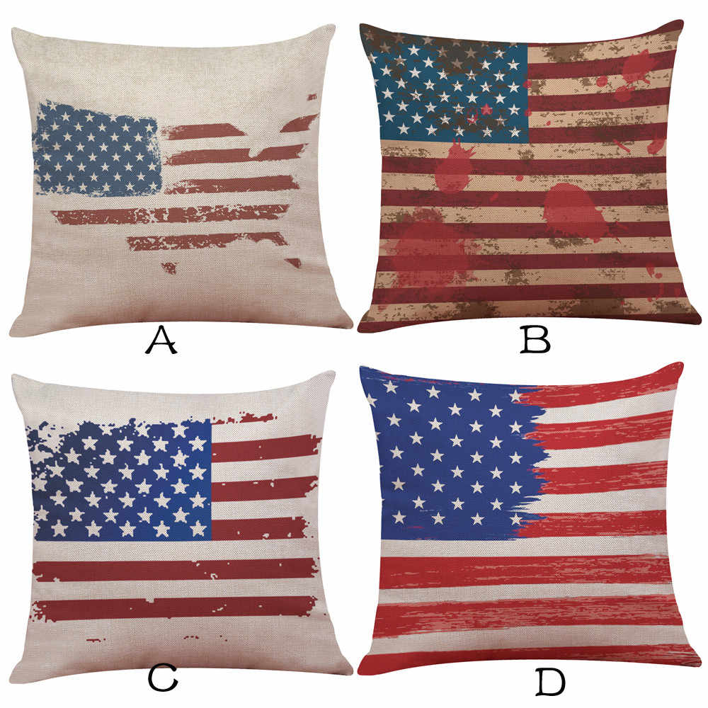 42baf5953efb New Qualited Pillow Covers Decorative 45 45 Vintage American Flag Pillow  Cases Cotton Linen Sofa