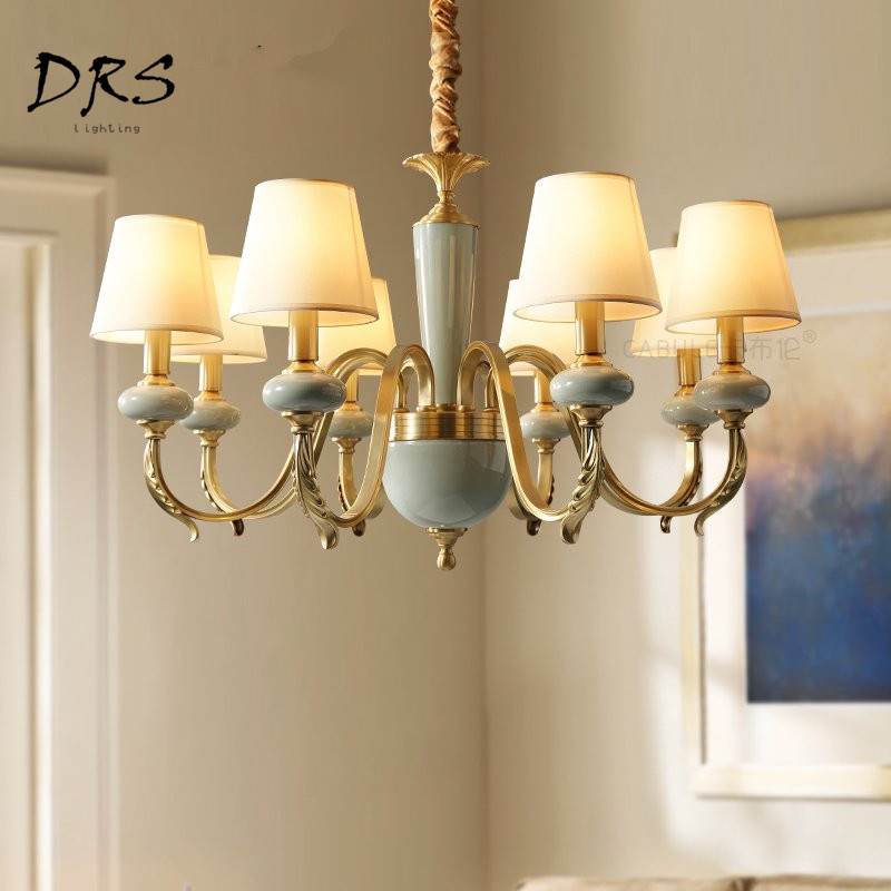 American Copper Living Room Chandelier Household Bedroom Bedside Lamp Nordic Luminaire  Simple Ceramic Pendant Lamp LightingAmerican Copper Living Room Chandelier Household Bedroom Bedside Lamp Nordic Luminaire  Simple Ceramic Pendant Lamp Lighting