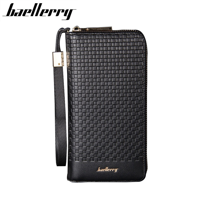 BAELLERRY Men Wallets Men Purse Clutch Bag PU Leather Long Wallet Phone Holder Card Holders Carteira Masculina Best Gift HQB1812 2017 luxury brand men genuine leather wallet top leather men wallets clutch plaid leather purse carteira masculina phone bag
