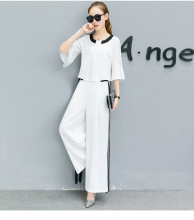 Spring clothing set korean fashion casual white suits new loose blouse wide-legged pants stylish two-pcs outfit bow back