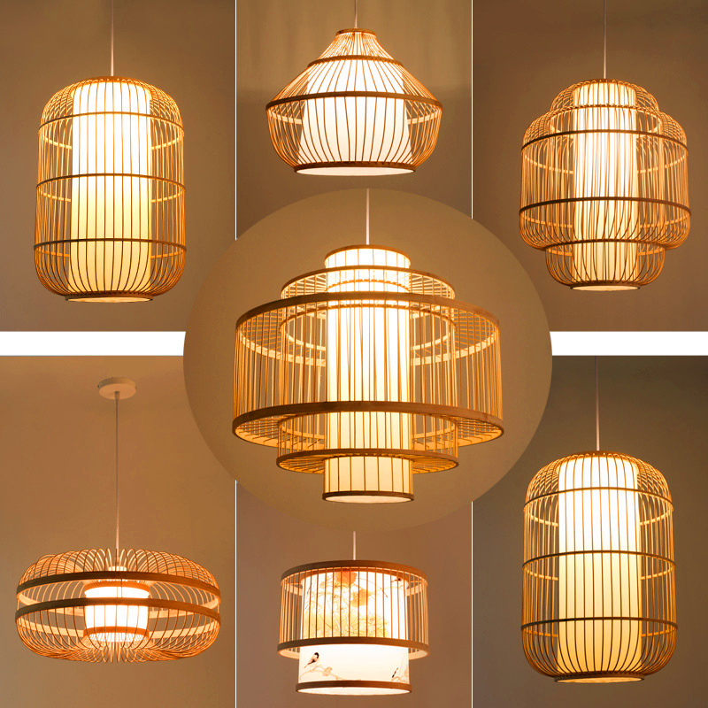 Chinese Bamboo LED Chandelier Lighting Garden Restaurant LED Pendant Lamp Hotel Farm Teahouse Lantern Tatami Bamboo Hanging Lamp