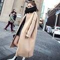 2017 Весна Зима Новый Корейский Стиль Длинное Пальто Женщины Толстый Хлопок Шерстяное Пальто Мода Пальто Женщин