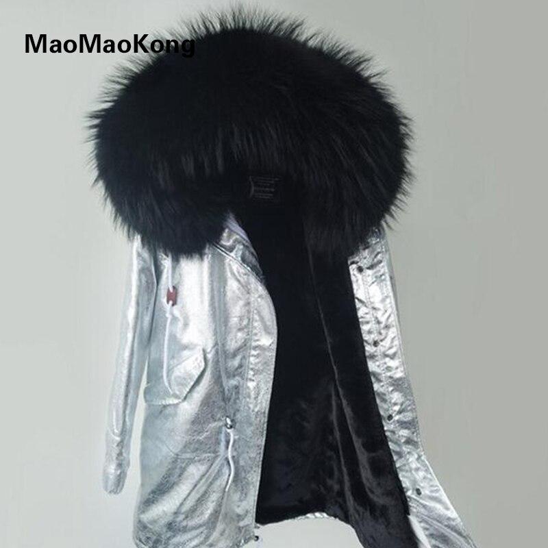 MAO KONG женские куртки зимние большие парки натуральный мех енота воротник женские зимние пальто