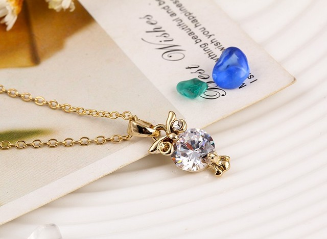 Owl Shaped Zircon Pendant Necklace