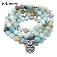 Meetcute 8mm Multilayer Natural Stone Beads Bracelet Or Long Necklace Lotus Buddha Ohm Charm Pendant Bracelet