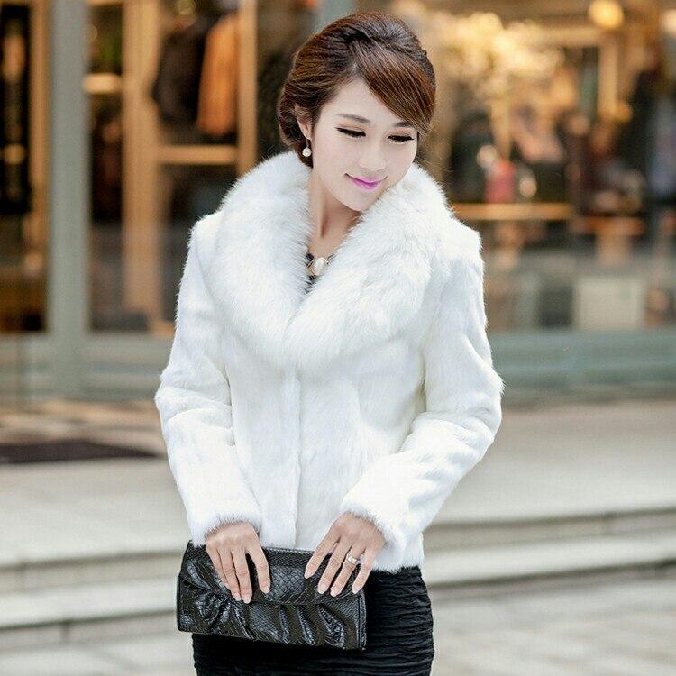 Здесь продается  Fashion slim short design real rabbit fur coat outerwear women fur jacket with genuine fox fur collar plus size XXXL,4XL,5XL  Одежда и аксессуары