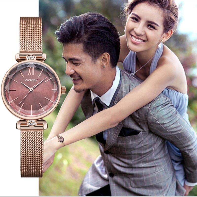 SINOBI montre femmes mode vert élégant femmes montres petit cadran diamant doré en acier inoxydable montre-bracelet dames montres cadeaux