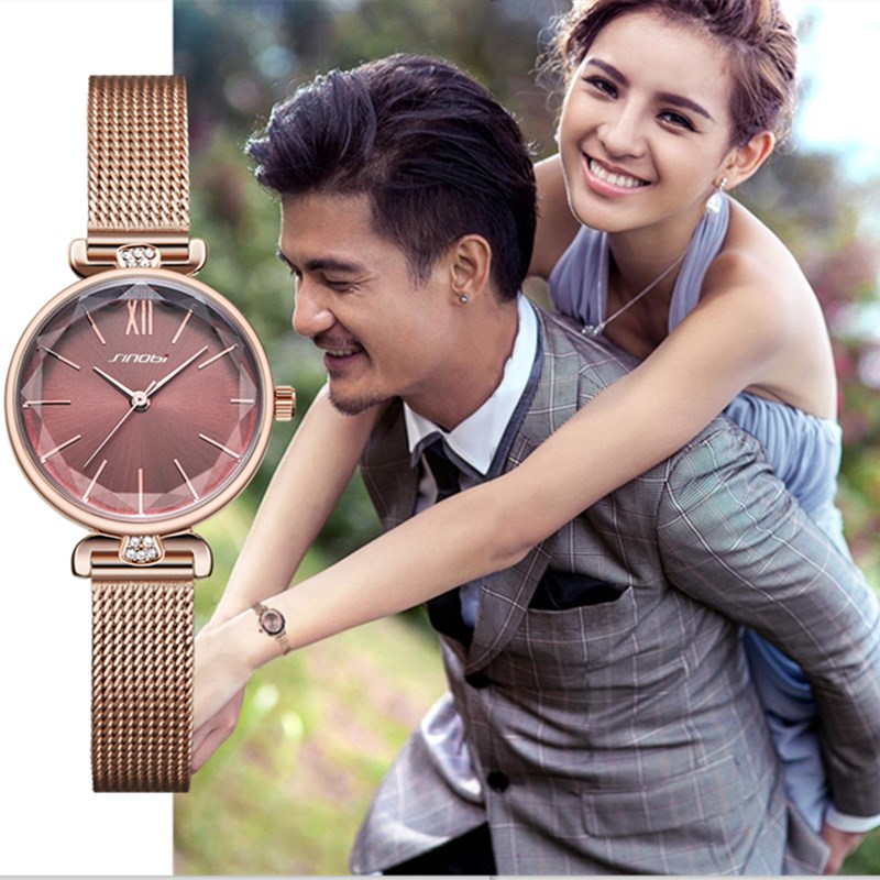 Women Watches SINOBI Top Luxury Brand Golden Steel Watchband Wrist Watch Women Elegant Green Smal Dial Diamond Ladies Watch Gift
