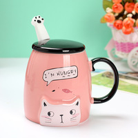 350ML cartoon cat ceramic cup cute candy color coffee cup creative cat claw spoon with handle with cover