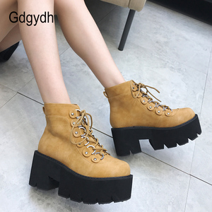 Image 4 - Gdgydh 2020 New Ankle Shoes Women Lacing Motorcycle Boots Square Heels Casual Shoes Autumn Platform Heels Leather Short Boots