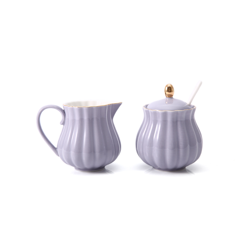 ceramics European style Coffee utensil accessories Suit Small sugar bowl With lid Household Small milk jug Glycoside Milk cup