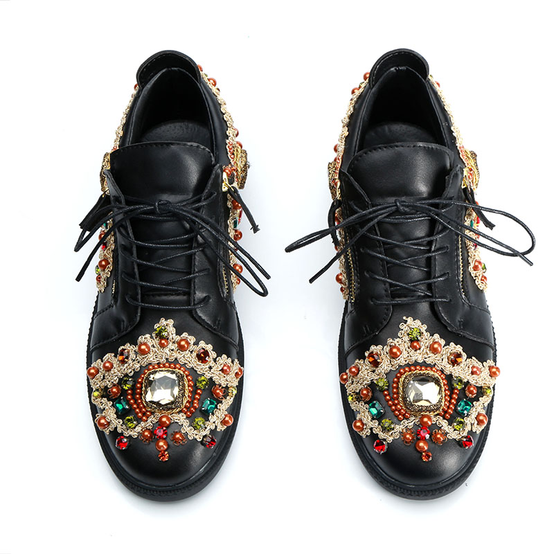 2019 Embroidery Sneakers Men Round Toe Rhinestone Diamond Embroidery Flats Shoes Men Fashion Loafer Shoes-in Formal Shoes from Shoes    2