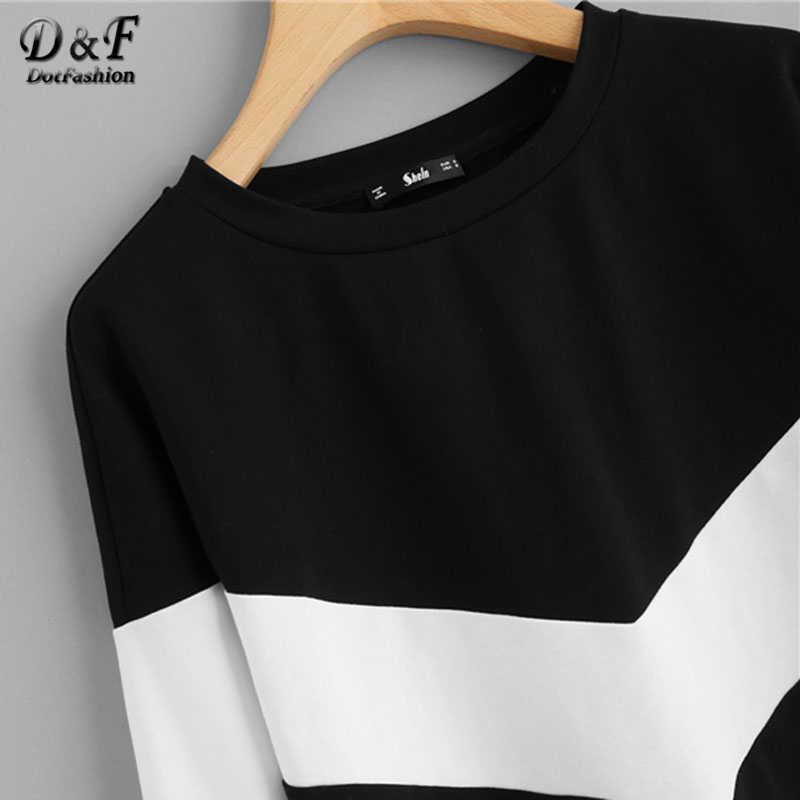 Dotfashion w dwóch odcieniach Chevron swetry damskie z długim rękawem Patchwork czarny i biały moda Streetwear bluza