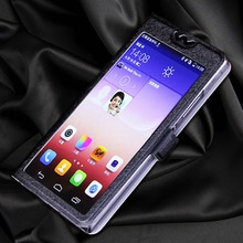 5 Colors With View Window Case For Huawei Ascend G730 Luxury Transparent Flip Cover For Huawei G 730 Phone Case  caseguru для huawei ascend g 630