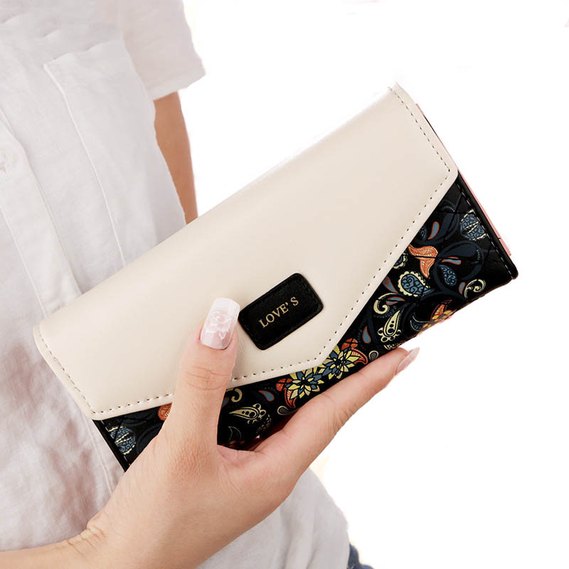 Wallet Women Purse Women's Long Wallets Female Clutch Bag Designer Card Holder Coin Pocket 3Fold Flowers Printing Zipper Purses fossil часы fossil es4196 коллекция idealist