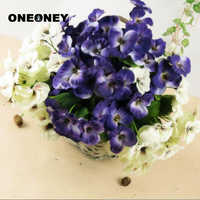 Oneoney 1pc Pansy Simulation Artificial Fake Flower Bonsai Pansy Home Decoration Accessories Wedding Purple White Yellow 10 Fork