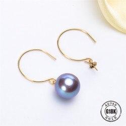 G18K Gouden Oorbellen Parel Sieraden, 18 K Goud oorhaak Voor Vrouwen Fashion Gouden Oorbellen Parel Accessoires