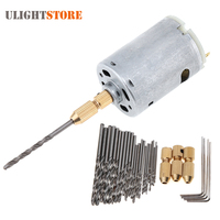 12V Mini Electric Motor DIY Hand Drill Power Tool With 3pcs Brass Collet 24pcs Micro Twist