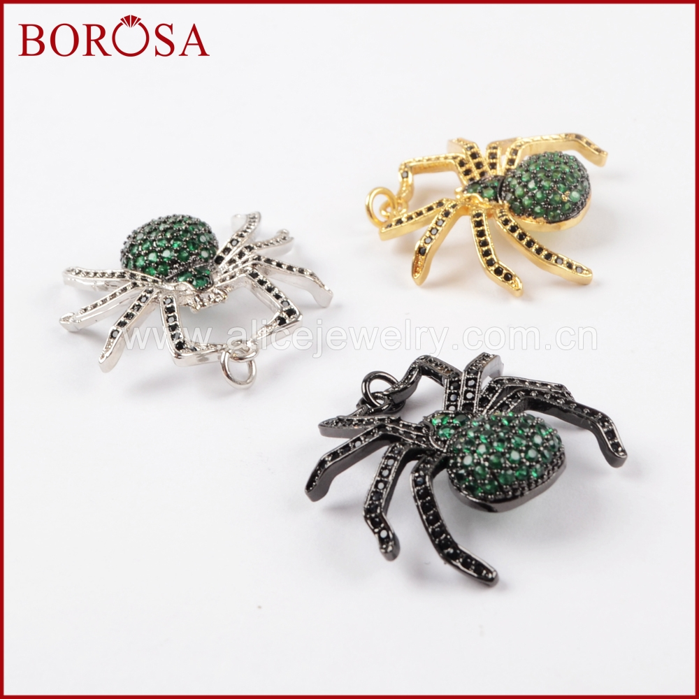 BOROSA 5PCS Spider Pendant Green Insect Pest Bugs Pendant Bead, Micro Pave Cubic Zircon CZ Pendants for Women Jewelry WX832