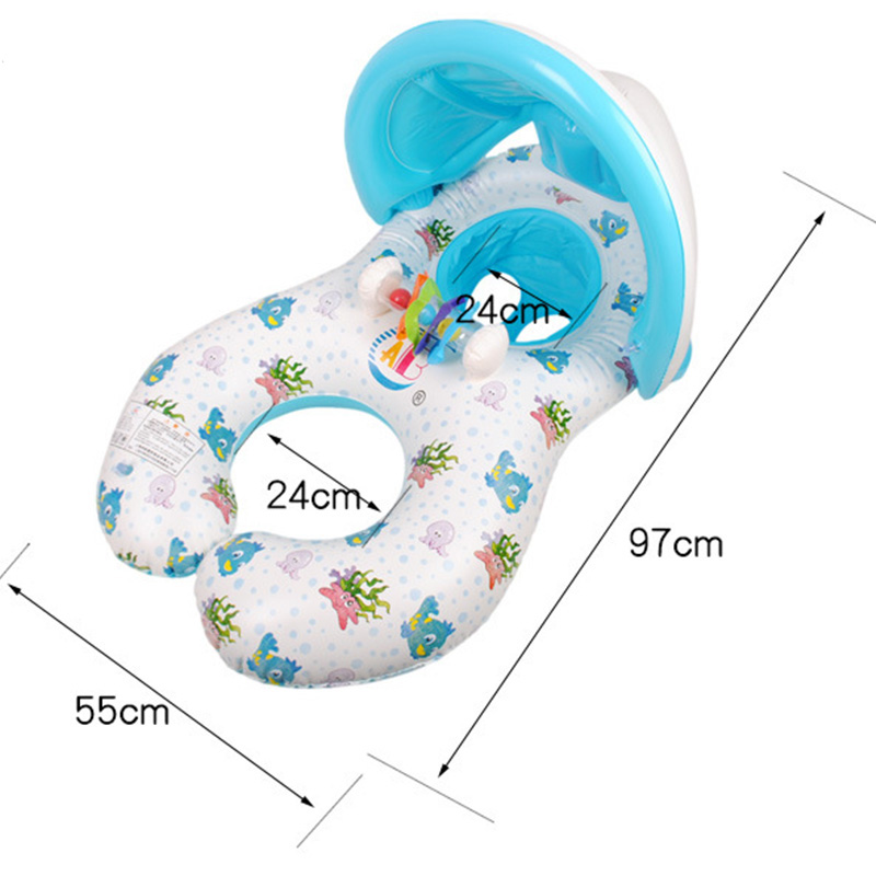 Inflatable Mother and Baby Swim Shade Float Circle Ring Kids Seat With Sunshade two People Person Swimming Pool T274