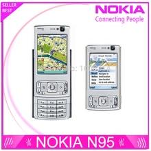 "Remis à neuf N95 origine Nokia N95 GPS WIFI 5MP 2.6 ""Screen WIFI 3 G débloqué Mobile téléphone 1 ano garantie"