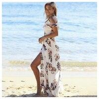 TFGS Women S Summer Floral Print Ruffles Chiffon Maxi Dresses Strap V Neck Split Beach Dress