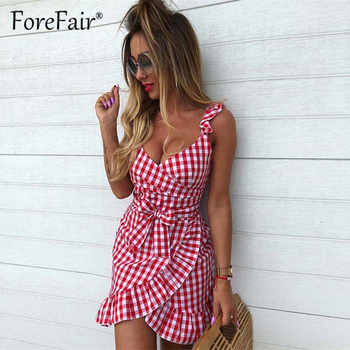Forefair women casual Plaid Dress vintage ruffle backless wrap Sexy Dresses Sleeveless v neck tie waist Mini Summer dress 2019 - DISCOUNT ITEM  45% OFF All Category