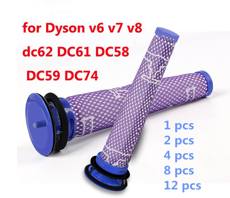 Pre Motor HEPA Filter for Dyson V6 V7 V8 Absolute Fluffy Animal DC58 DC59 DC61 DC62 DC74 parts 965661-01 Replacement Washable