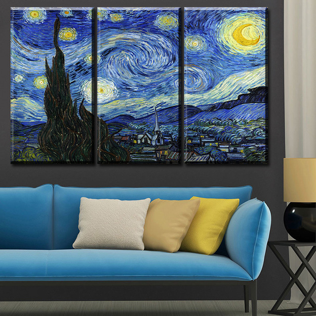 3 pcs vincent van gogh starry night c 1889 art wall picture room