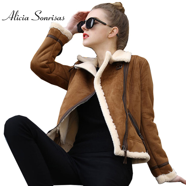 huge selection of 6c1df 54656 US $46.43 34% di SCONTO|2017 Shearling Pelle Di Pecora Cappotto di Lana di  Agnello Faux Leather Jacket Addensare Manica Lunga Pelliccia Moto della ...