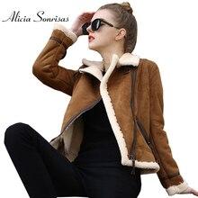 2017 Shearling Sheepskin Coat Winter Lamb Wool Faux Leather Jacket Thicken Long Sleeve Furry Motorcycle Fur Suede Jackets AS3010