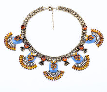 2016 New Hot Sale Latest Women Latest Wholesale Chunky Blue and Black Best Friend Necklace(China)