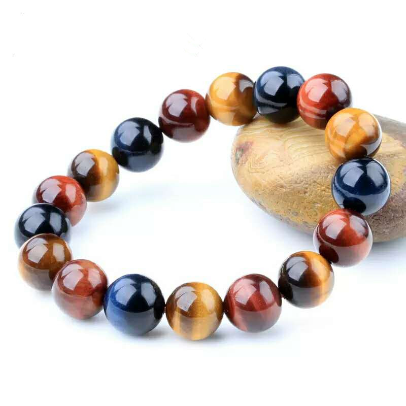 12mm Genuine Natural Colorful Tiger Eye Gemstone Reiki Round Beads Stone Bracelet Women Men Crystal Fashion Jewelry AAAAA in Bracelets Bangles from Jewelry Accessories