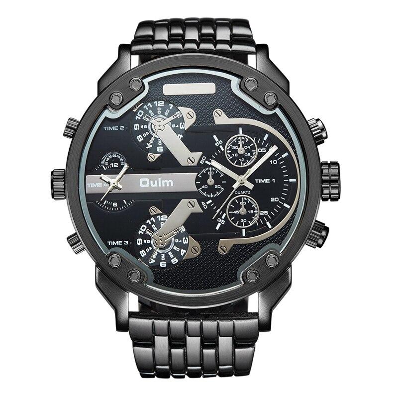 Oulm Übertrieben Große Big Uhren Männer Luxusmarke Einzigartige Designer Quarzuhr Männlich Voller Stahl Lederband Armbanduhr