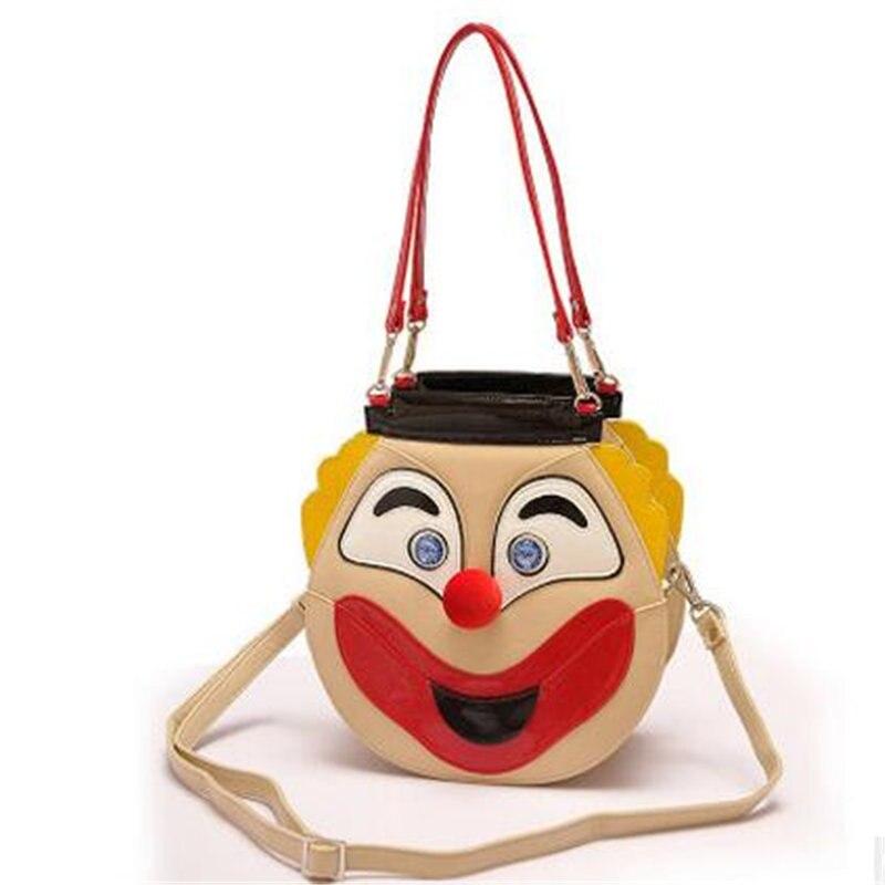 2017 New Style Tide Women Two Sides Face Clown Women Shoulder Bags Cute Fashion Women Travel Messenger Bags Han Style Handbags
