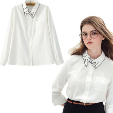 New Fashion White Women Long-Sleeved Blouse Design Cute Cat Embroidered Blouse