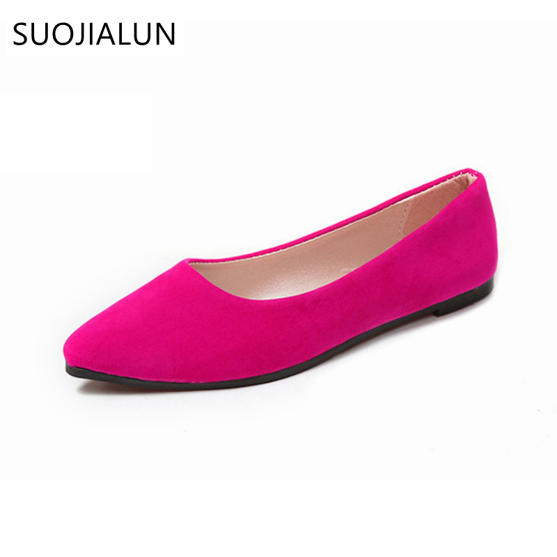 SUOJIALUN 2018 Spring Autumn Fashion Ladies Pointed Toe Flat Shoes Suede Casual Flats Loafers Slip On Shoes odetina 2017 spring elegant driving shoes loafers women fashion pointed toe flats slip on boat shoes grandma casual flat shoes