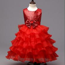 Kids Prom Party Gowns Designs Children Clothes Kids Formal Dresses for Girls Wedding Lace Tulle Christmas Dress 3colors