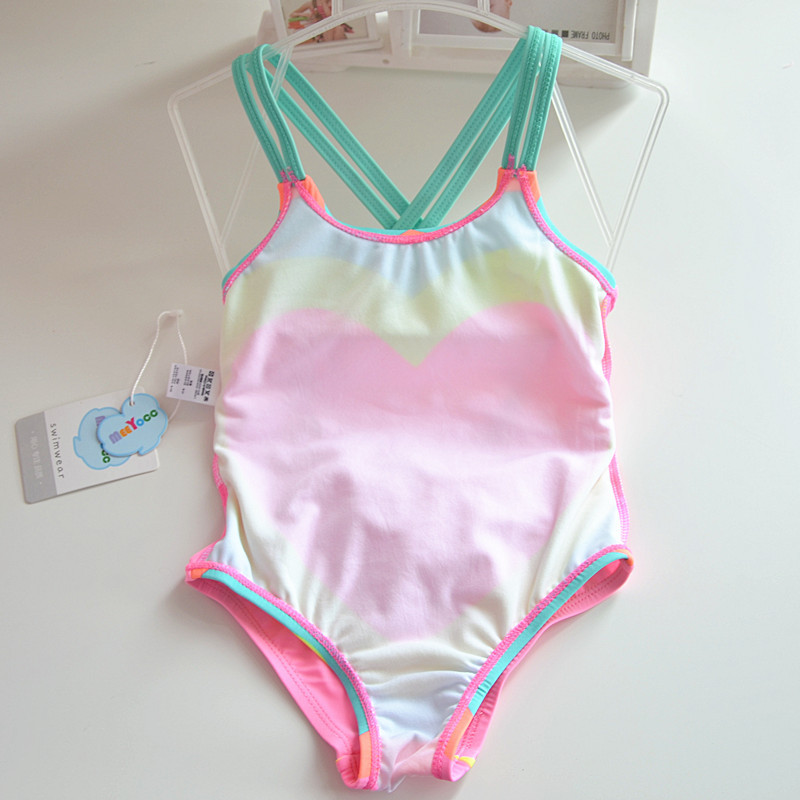 GI FOREVER Girl One Pieces Suit Children Heart Print Swimsuit 2018 Baby Cute Backless Swimwear Bathing Suit Maillot De Bai