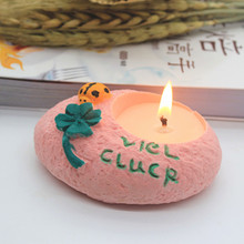Small Ladybug flower Candlestick Silicone Mold aromatherapy plaster pot wax candle holder Concrete Mould