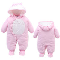 Winter Newbron Baby Girl Clothes Cotton Thicken Warm Romper Long Sleeved Hooded Boy Clothing Infant Bebe Sport Jumpsuit Snowsuit
