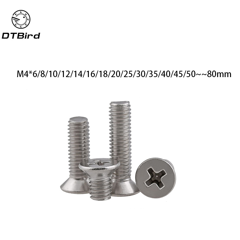 100pcs GB819 M4 304 Stainless Steel Metric Thread flat head cross Countersunk head screw m4*(6/8/10/12/14/16/18/20/25~80) mm free shipping 100pcs m4x12 mm m4 12 mm flat head countersunk head black grade 8 8 carbon steel hex socket head cap screw