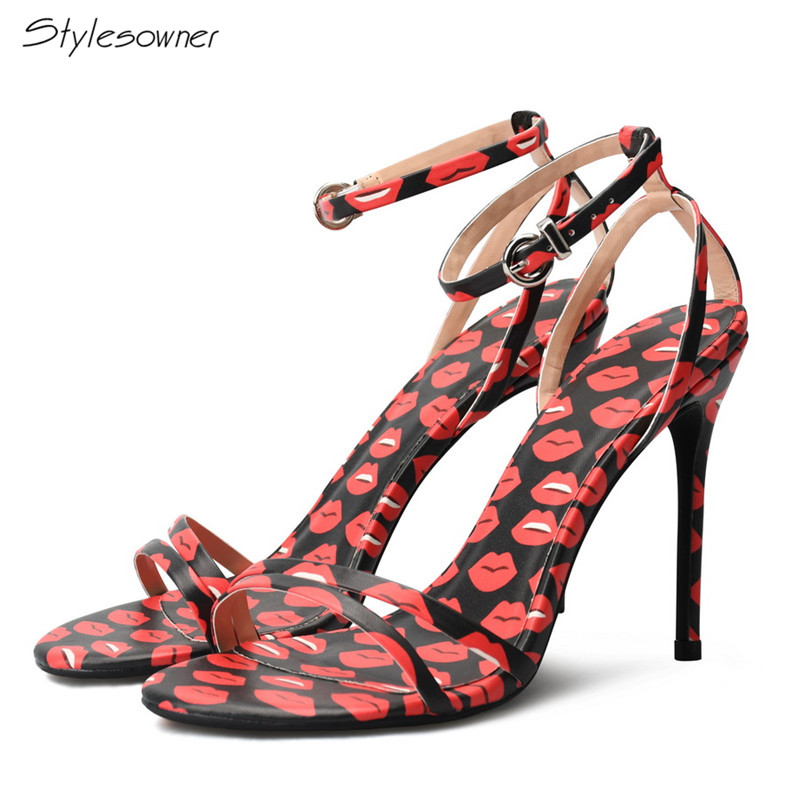Stylesowner 2018 Sexy Red Mouth Stiletto High Heel Sandals Summer Ankle Buckle Strap Open Toe High Heels Ladies Wedding Big Size summer sexy ankle wrap buckle strap square heel super high heels patent leather fish mouth fashion four color ladies sandals