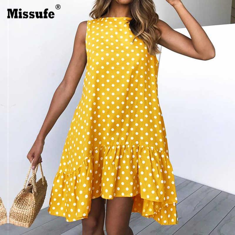 47fb205cc07 Missufe 3XL Plus Size Polka Dot Ruffles Off Shoulder Dress Mini Sleeveless Beach  Dress Female Mini
