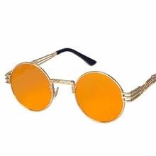 Retro Street Fashion SteamPunk Round Plastic Women's Sunglasses Glasses For Men Google polarized Mirrored New Brand Designer