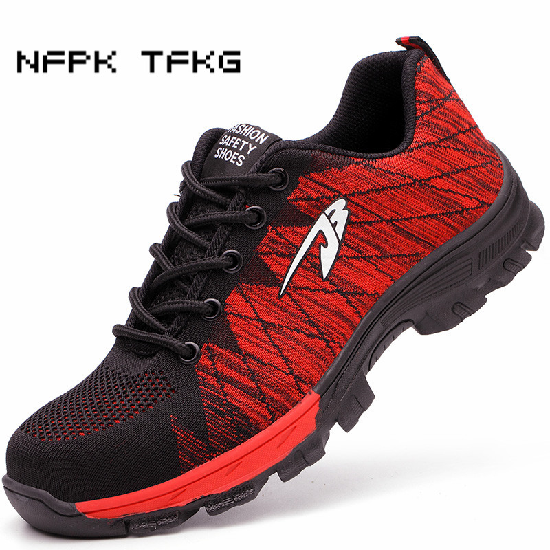 men fashion large size breathable mesh steel toe caps work safety summer shoes anti-pierce non-slip tooling security boots male halinfer large size 45 46 men fashion breathable mesh steel toe caps work safety shoes with anti pierce protective footwear
