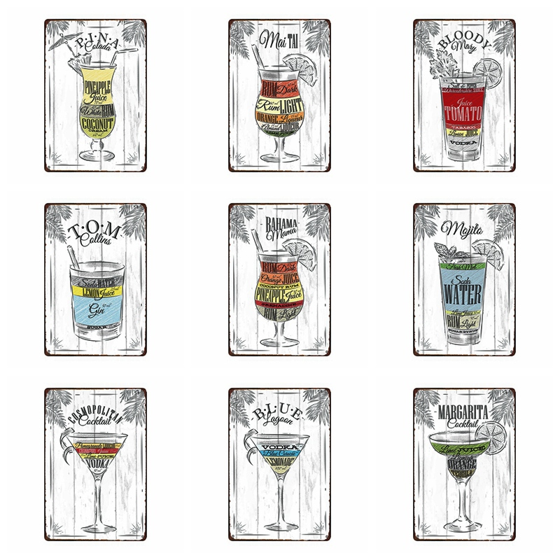 Cocktail Vintage Metal Plaques Tin Sign Metal Plate Wall Kitchen Home Art Craft Bar Decoration 30X20CM A 3330 in Plaques Signs from Home Garden