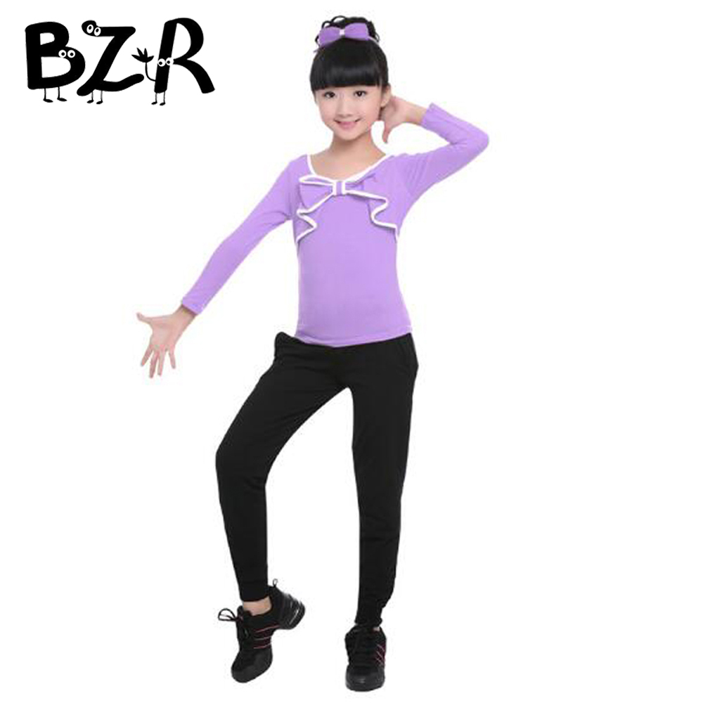 Comfortable Cotton Girls Sportswear Shirt and Trousers Set Gymnastics Costume Suit Modern Kids Ballet Dance Performing Clothes
