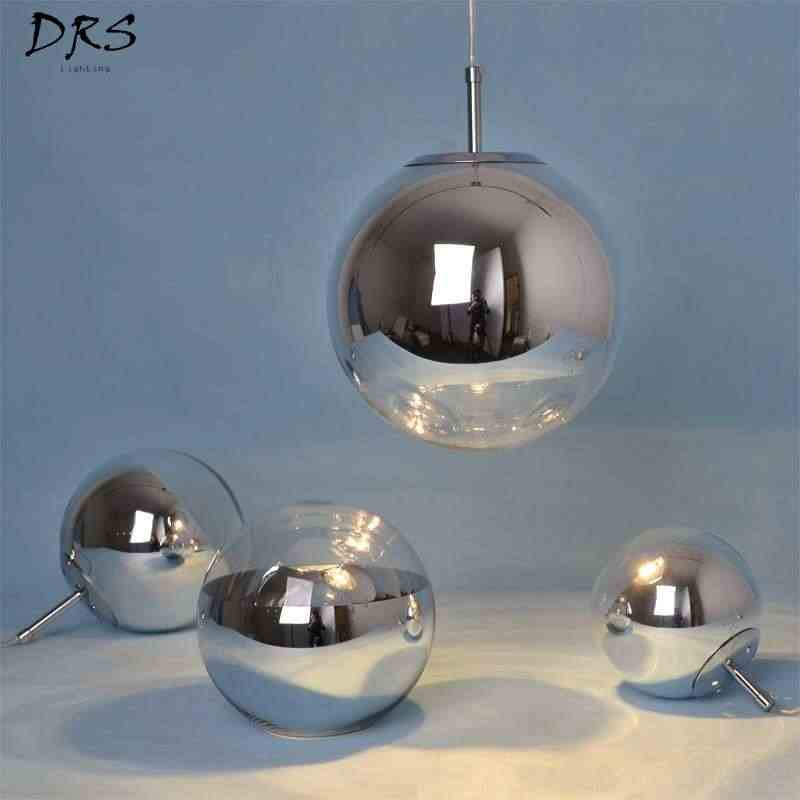 Modern Tom Single Pendant Lamp Hollow Space Plated Glass Ball Chandelier Creative Flesh Light  Kitchen Lights Hanging LED